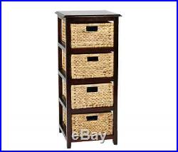 Tall End Table Wicker Nightstand Storage Wood Side Bedside 4 Drawers Furniture