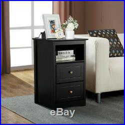 Tall End Tables Nightstand Sofa/Bed Side Accent Table withDrawer Shelf Livingroom