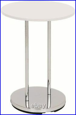 Tall Hallway Side Table White Bedside Lamp Telephone Display Stand Round Gloss