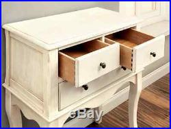 Tall Side Table End Entry Antique White Console Distressed Bedside Vintage Wood