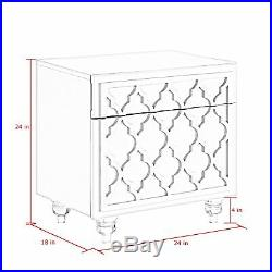 Trellis Side Table Lacquer Nightstand Side Table Glossy Bedside Acrylic Legs