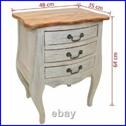 US Solid Reclaimed Wood Bedside Cabinet with 3 Drawers Nightstand Side Table
