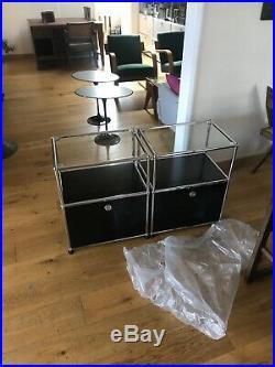 USM Haller Side Cabinets Bedside Tables Custom Gloss Black Panels Glass