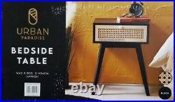 Urban Paradise Bedside Table Vintage Cane Side Table Cabinet Lamp Table Black
