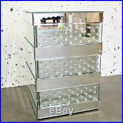 VENETIAN Mirrored Mirror Bedside Bed Side Table Cabinet stand Bedroom crystal UK