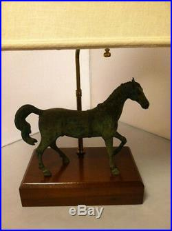 Verde Green Bronze Horse Table Lamp Wood Base Equestrian Desk Bed Side Light NEW