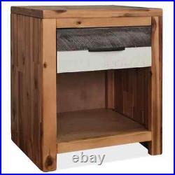 VidaXL 1/2x Solid Acacia Wood Bedside Table Bedroom Nightstand Side End Table