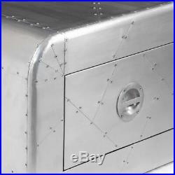 VidaXL Aluminum Aviator Coffee Side Bedside Storage Table Nightstand 1 Drawer