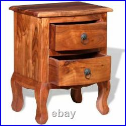 VidaXL Set Of 2 Nightstand Solid Wood End Table Bedroom Storage Side Bedside