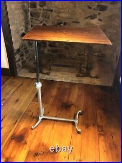 Vintage Antique Bed Side Table Adjustable Cast Iron Wood