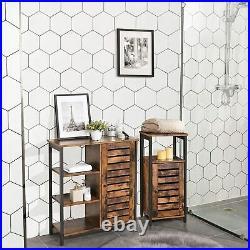 Vintage Industrial Cupboard Cabinet Rustic Bedside Storage Unit Tall Side Table