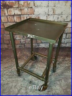 Vintage Industrial Metal Military Medical Drinks Trolley Side Lamp Bedside Table