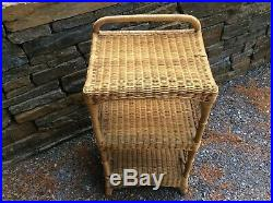 Vintage MCM Rattan Wicker End Bed Side Table Book Plant 2 Shelf Bath Night Stand