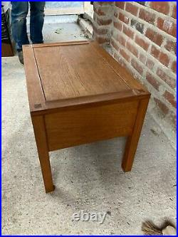 Vintage Mid Century Teak Coffee Side End Table Bedside Cabinet 2 Drawers