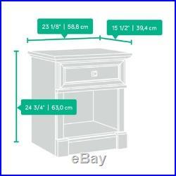 Vintage Oak 1-Drawer Bedroom Nightstand Open Shelf Storage Bed Side End Table