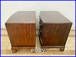Vintage PAIR of Henredon Nightstands Banded Mahogany Side Tables Bedside chests