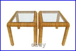 Vintage Pair Wrapped Rattan Wicker & Glass Side End Tables Palm Beach Boho 70's