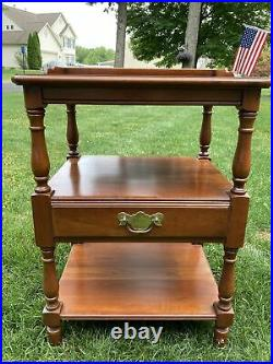 Vintage Pennsylvania House Candle Light Bed Side Table Three Tier Center Drawer