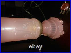 Vintage Pink Frosted Skyscraper Torpedo Bed Side Table Desk Lamp Art Deco Bullet