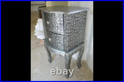 Vintage Shabby Chic Embossed Bedside Cabinet Drawers Side Table Statement Piece
