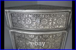 Vintage Shabby Chic Embossed Corner Bedside Cabinet Side Table Statement Piece