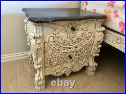 Vintage Solid Teak Wood Carved Bedroom Set, Bed, Side Tables, Dresser and Mirror