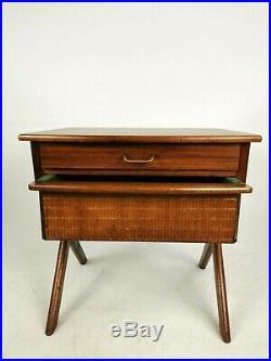 Vintage Teak Norwegian O. P Rykken & Co. 2 Drawer Sewing Box Bedside Side Table