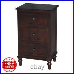 Walnut Brown 3 Drawer Wooden Nightstand Bedside Table End Side Storage Furniture