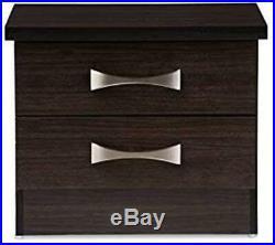 Wenge Finish Nightstand Wooden Bedside Table 2 Drawer End Side Storage Furniture