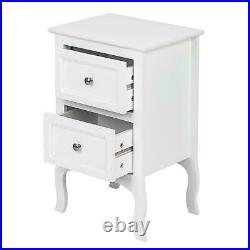 White 2 Layer Drawer Cabinet End side Bedside Table Nightstand Bedroom Organizer