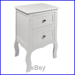 White Cabinets Nightstand Bed Side Stands French Style MDF Storage Drawers Table