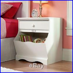 White Finish Nightstand Bedside Table Drawer End Side Storage Bin Shelf Bedroom