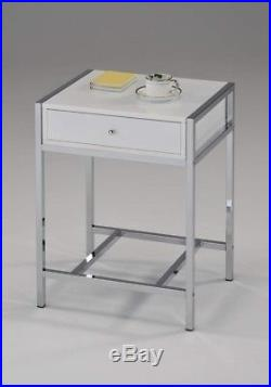White Night Stand Table Bedroom Accent Modern Chrome Side Wood Drawer Bedside