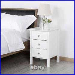 White Wood Nightstand 3 Drawers Storage End Table Bedroom Storage Side Bedside