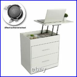 Wood Sofa End Side Bedside Table Nightstand Storage Shelf Lift Drawer Movable