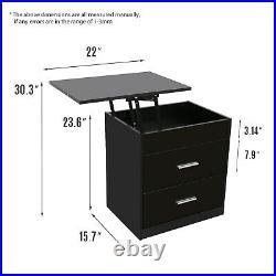 Wood Sofa End Side Bedside Table Nightstand Storage Shelf Lift Tabletop Bedroom