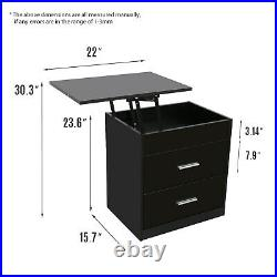 Wood Sofa End Side Bedside Table Nightstand Storage Shelf Lift WithDrawer Top