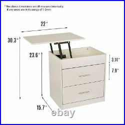 Wood Sofa End Side Bedside Table Nightstand Storage Shelf Lift withDrawer Top US