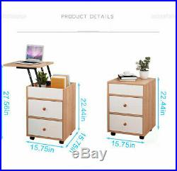 Wood Sofa End Side Bedside Table Nightstand WithDrawer Storage Lift Top Set of 2