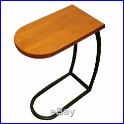 Wood Top End Table Metal Legs Sofa Snack Tray Bed Side Living Room Furniture New