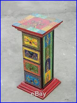 Wooden Handcrafted Drawer Painted Chest Of 4 Drawers Bed Side Table Storage