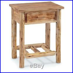 Wooden Log End Table Nightstand Bedside Bedroom Side Stand Accent With Drawer
